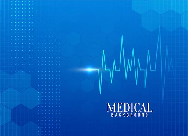 Fondo médico abstracto con línea de vida vector gratuito