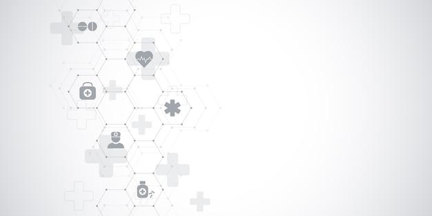 Fondo médico y científico de la salud con iconos y símbolos. tecnología de innovación. Vector Premium