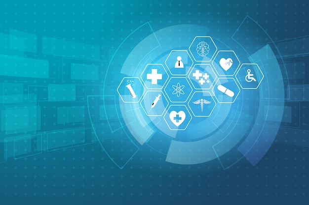 Fondo médico del concepto de la innovación de la ciencia de la atención sanitaria Vector Premium