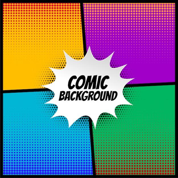 Fondo de medio tono cómico en diferentes colores. vector gratuito