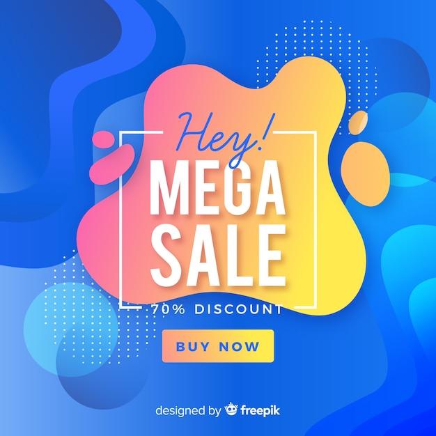 Fondo de mega rebajas con formas abstractas vector gratuito