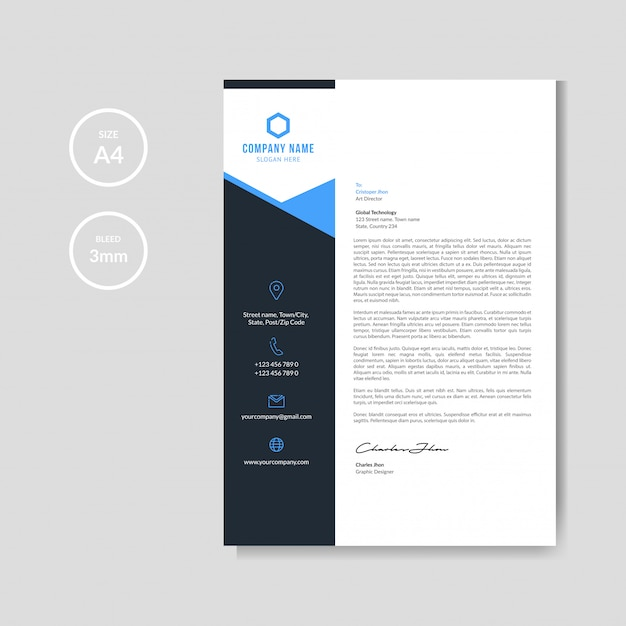 Fondo de membrete azul moderno Vector Premium