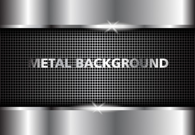 Fondo metal plateado, plata abstracta oscura. Vector Premium