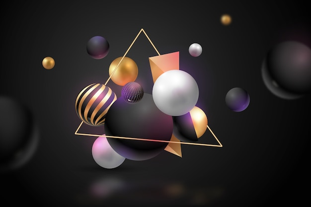 Fondo metálico de esferas 3d vector gratuito