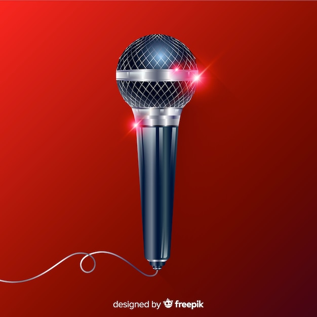Fondo micrófono moderno realista vector gratuito
