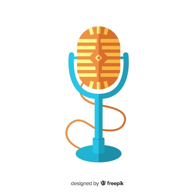 Fondo micrófono retro plano vector gratuito