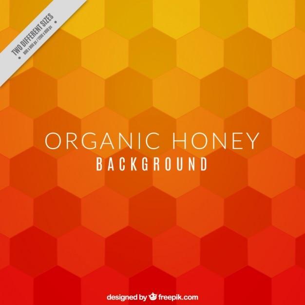 Fondo de miel con hexágonos naranjas vector gratuito