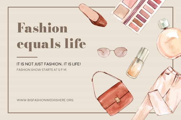 Fondo de moda con bolsa, pantalones, cosméticos vector gratuito