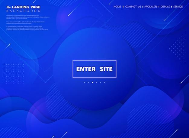 Fondo moderno abstracto de la página de aterrizaje web tecnología de color vivo azul Vector Premium