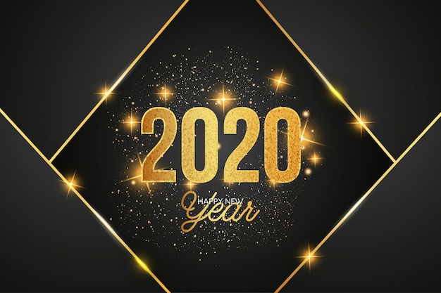 Fondo moderno de celebración 2020 con formas doradas vector gratuito