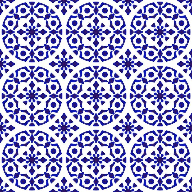 Fondo moderno de cerámica china, azul y blanco, cerámica, fondo, diseño moderno. Vector Premium