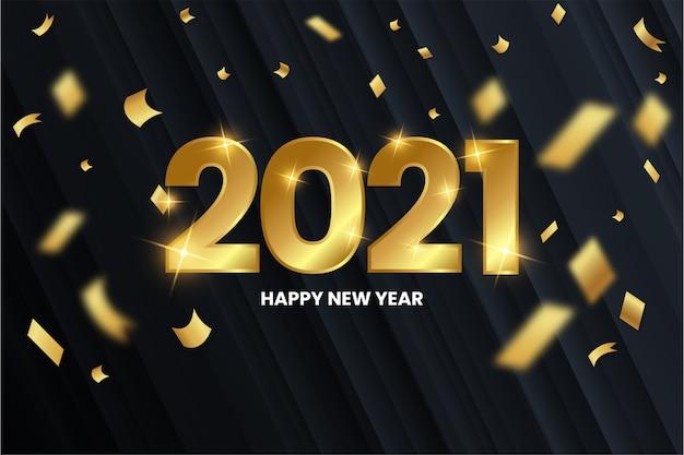 Fondo moderno feliz año nuevo con números dorados vector gratuito