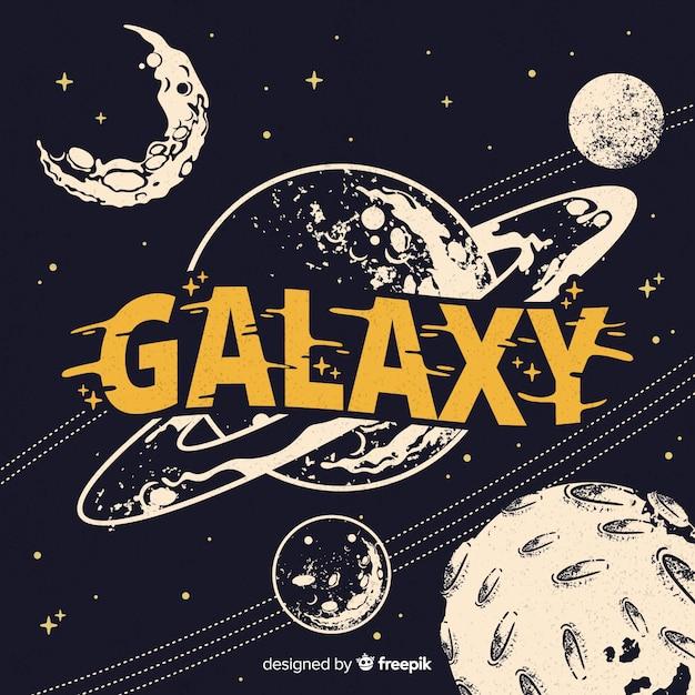 Fondo moderno de galaxia dibujado a mano Vector Premium