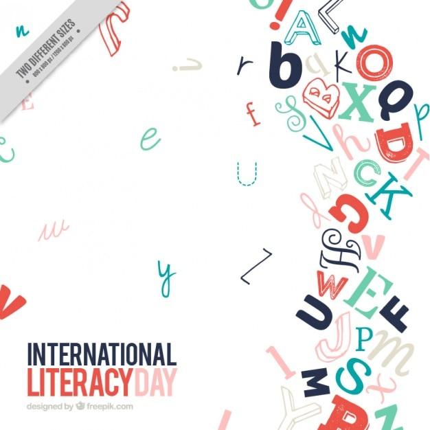 Fondo moderno de letras del día de la alfabetización Vector Premium