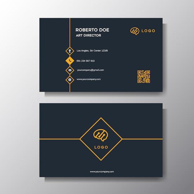 Fondo moderno naranja tarjeta de visita Vector Premium