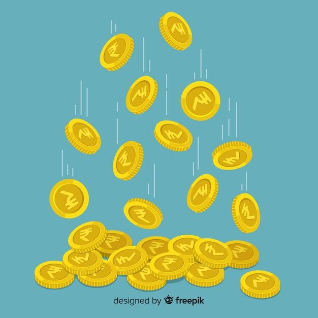 Fondo de monedas de rupias indias cayendo vector gratuito