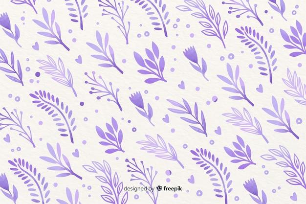 Fondo monocromático de flores violeta acuarela vector gratuito