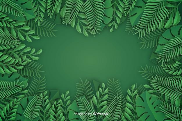 Fondo monocromo de hojas en papel vector gratuito