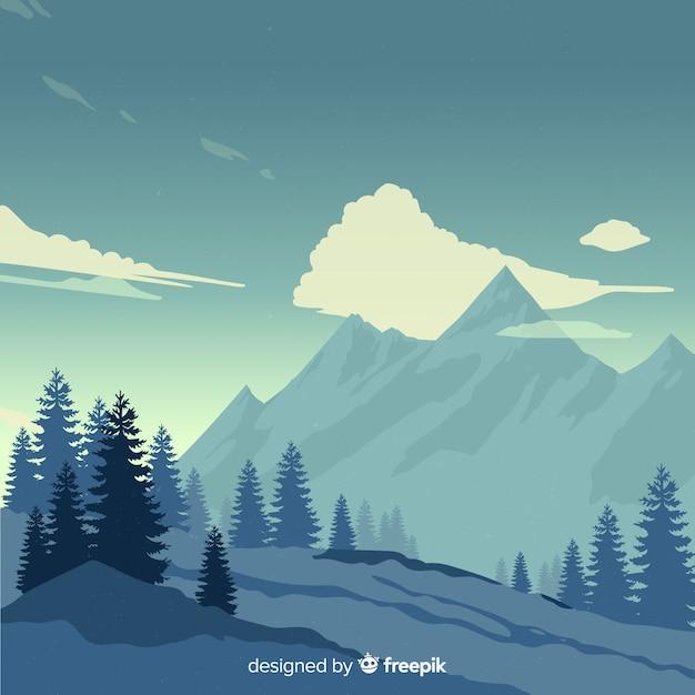 Fondo de montañas de paisaje vector gratuito