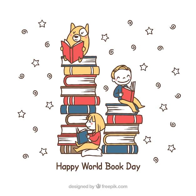 Fondo de montón de libros con niño y mascota leyendo vector gratuito