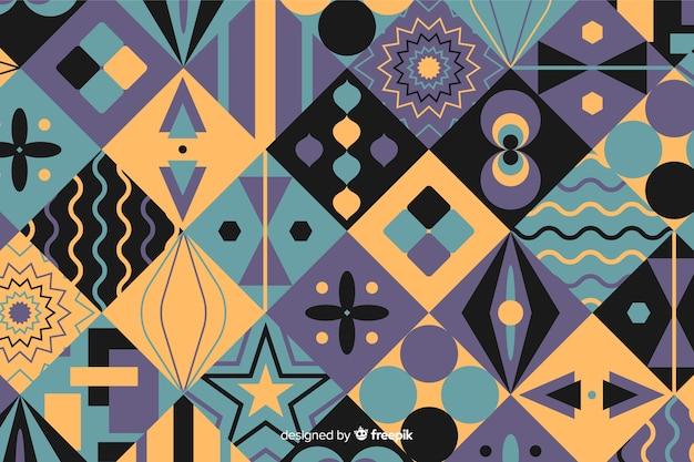 Fondo de mosaico colorido con formas geométricas vector gratuito