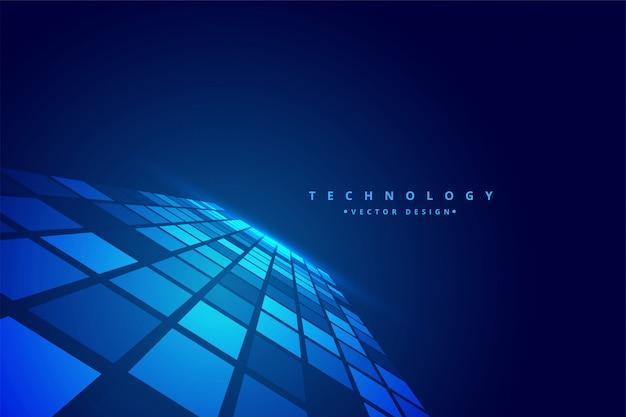 Fondo de mosaico de perspectiva digital de tecnología vector gratuito