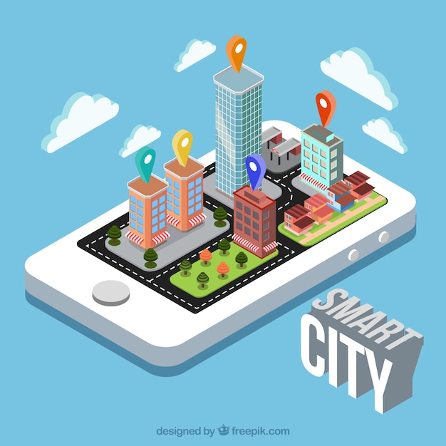Fondo de móvil con ciudad inteligente en diseño isométrico vector gratuito