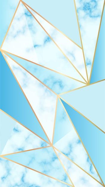 Fondo de móvil con efecto mármol y formas geométricas azules vector gratuito