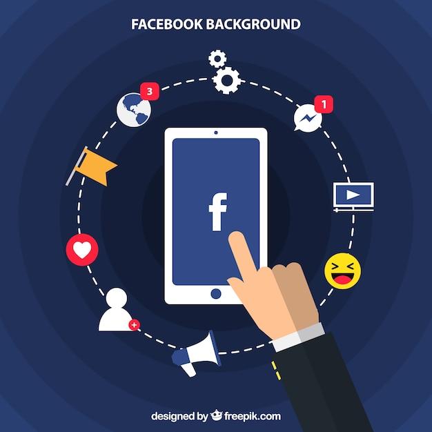 Fondo de móvil con elementos de facebook en diseño plano vector gratuito