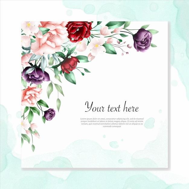 Fondo multiusos acuarela marco floral Vector Premium