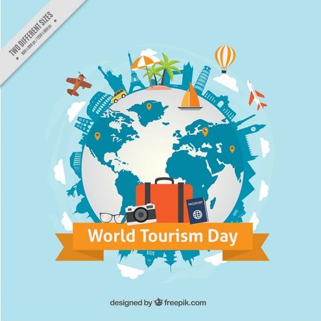 Fondo mundial del día del turismo con mundo y monumentos  Vector Gratis