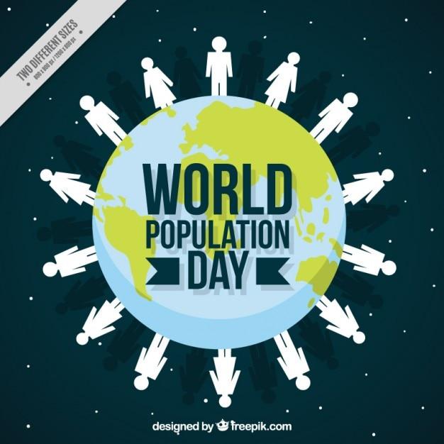 Fondo de mundo con gente para el día de la población vector gratuito