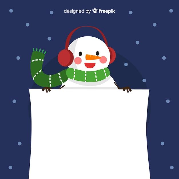 Alegre muñeco de nieve con cartel en blanco | Vector Gratis