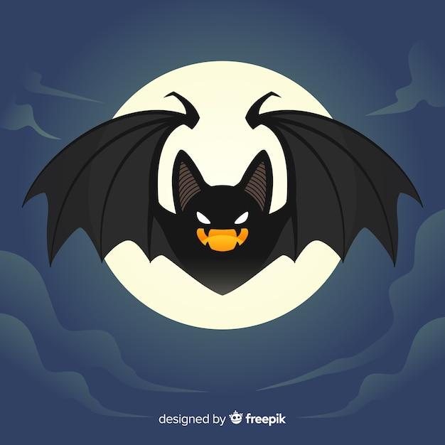 Fondo de murciélago de halloween en diseño plano vector gratuito