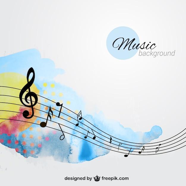 Fondo de música pintado a mano Vector Premium