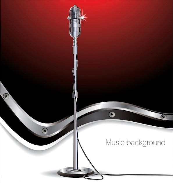 Fondo de música retro Vector Premium