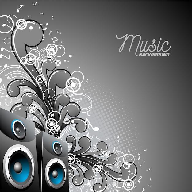 Fondo musical con altavoces vector gratuito