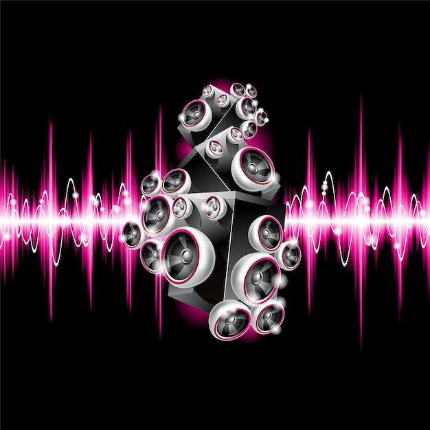 Fondo musical con ondas sonoras rosas vector gratuito