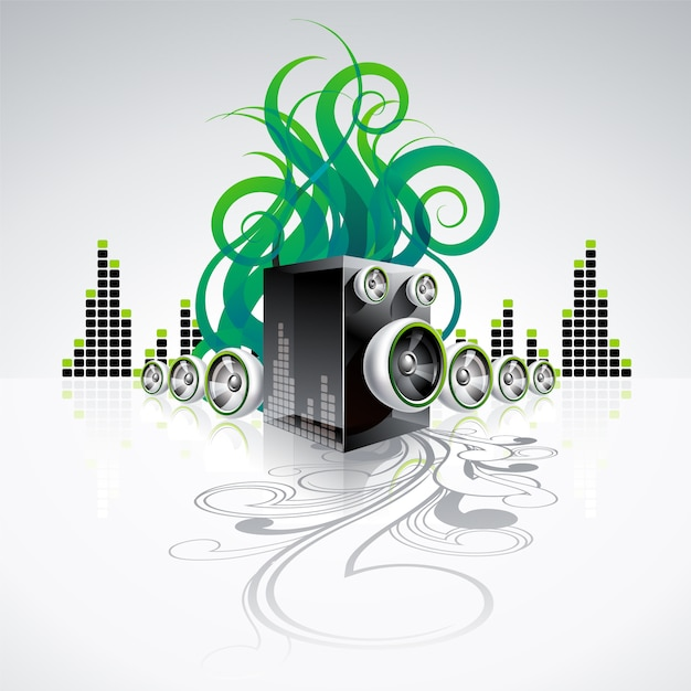Fondo musical con ondas sonoras verdes vector gratuito