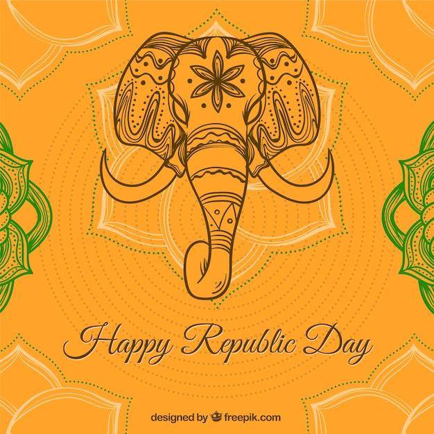 Fondo naranja con elefante para el día de la república india ...