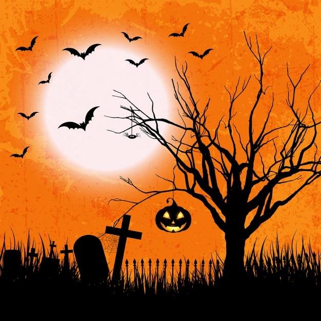 Fondo Naranja De Halloween En Estilo Grunge