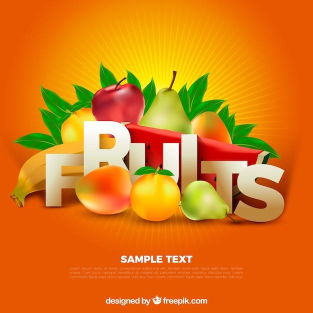 Fondo naranja con frutas en diseño realista vector gratuito