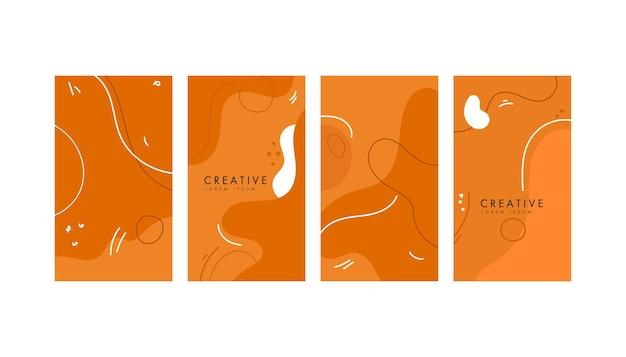 Fondo naranja geométrico abstracto colorido para redes sociales Vector Premium