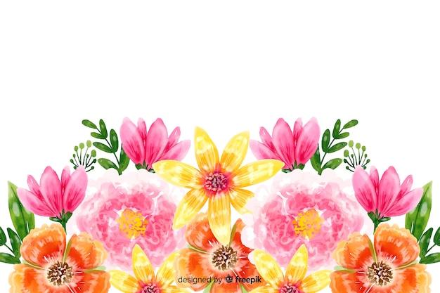 Fondo natural con flores coloridas en acuarela vector gratuito