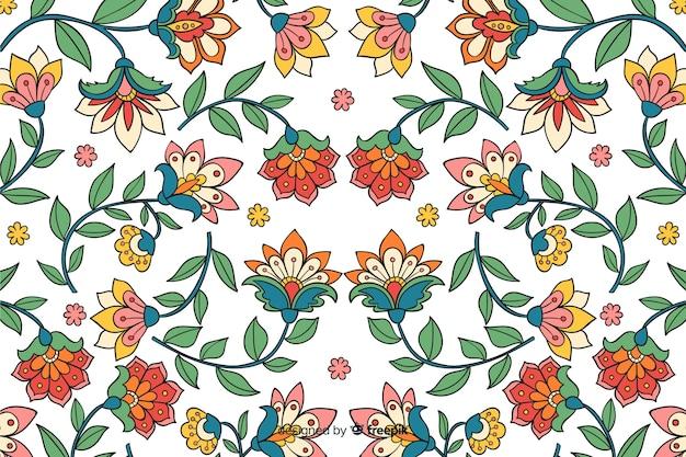 Fondo natural con flores dibujadas a mano vector gratuito
