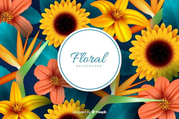 Fondo natural con flores realistas vector gratuito