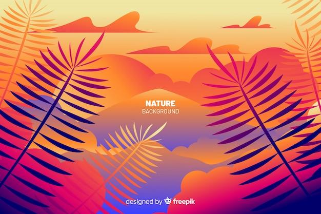Fondo de naturaleza con hojas de colores vector gratuito