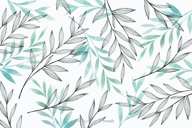 Fondo de naturaleza con hojas grises y azules vector gratuito