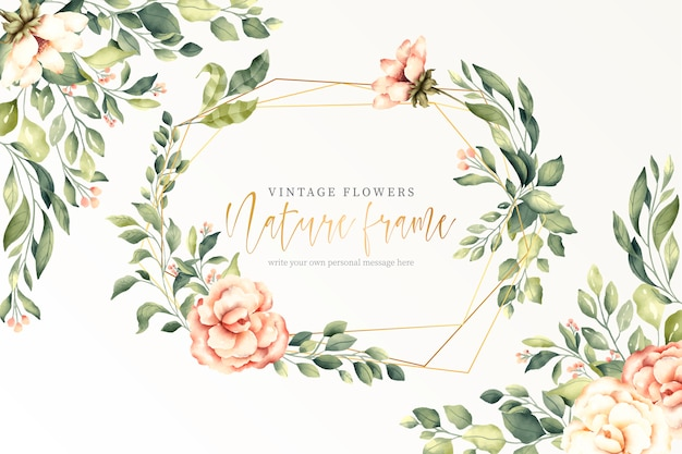 Fondo de naturaleza vintage con marco dorado vector gratuito