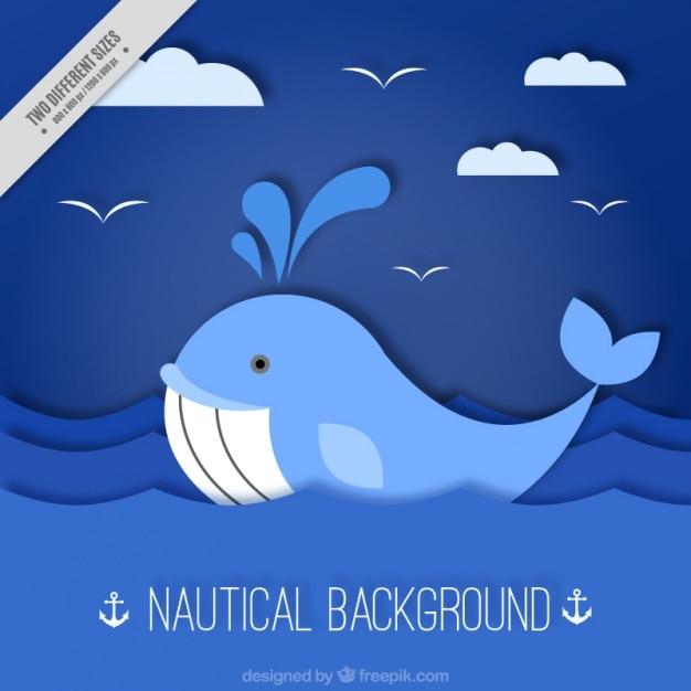 Fondo náutico azul con ballena vector gratuito